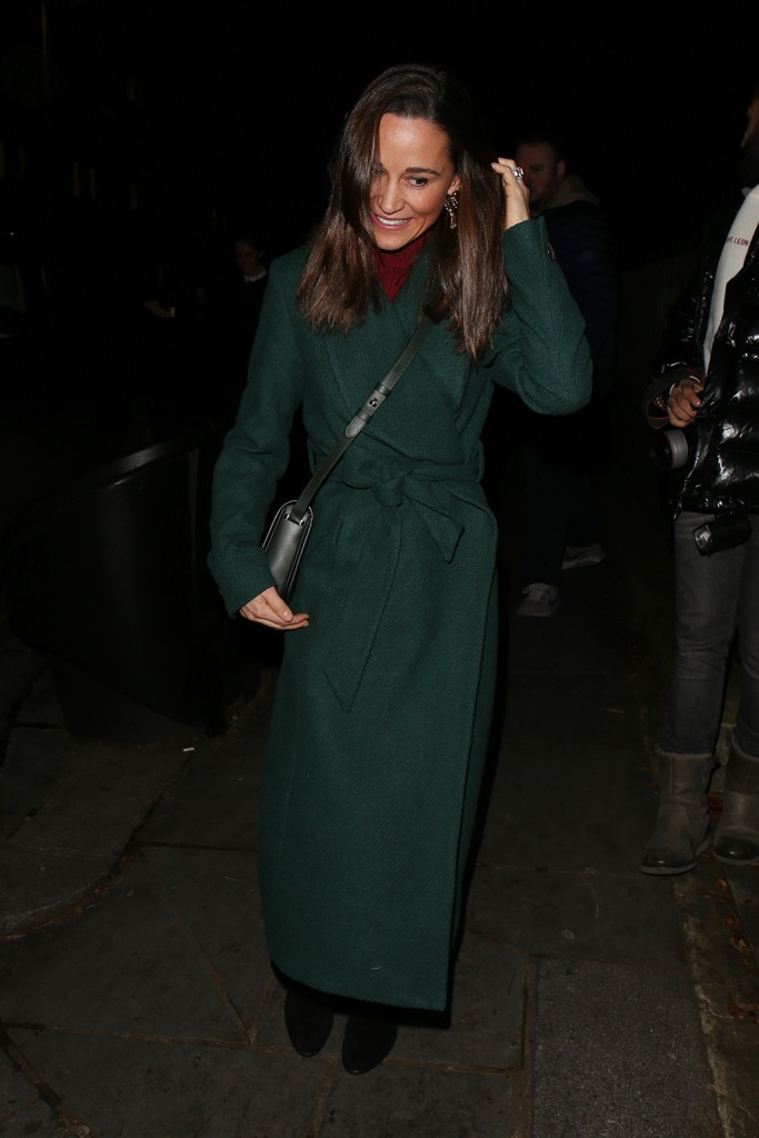 Pippa Middleton, green coat, forest green, red sweater, christmas colors, christmas concert, black suede ankle boots, booties, black crossbody bag, royal style, kate middleton sister, The Henry van Straubenzee Memorial Fund Christmas Carol Service, St Lukes Church, London, UK - 04 Dec 2019