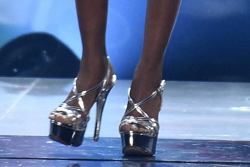 Zozibini Tunzi, silver shoes, pedicure, toes, blue minidress, sparkly dress, silver sandals, criss cross shoes, legs, celebrity style, Miss Universe Competition, Show, Tyler Perry Studios, Atlanta, USA - 08 Dec 2019