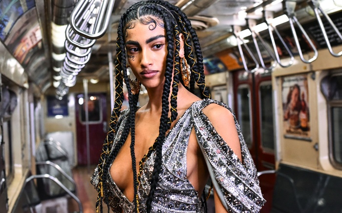 Model on the catwalk, detailMoschino show, Runway, Pre-Fall 2020, New York Transit Museum, New York, USA - 09 Dec 2019