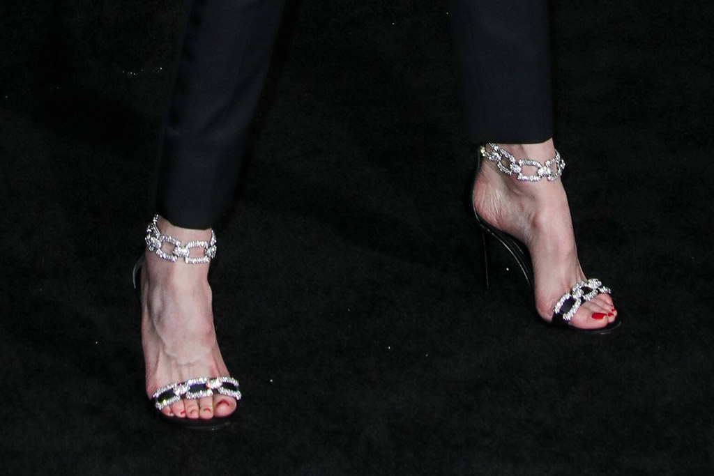 Nicole Kidman, pedicure, red toes, feet, tuxedo, saint laurent spring 2020, red carpet, sandals, stella luna shoes, 'Bombshell' film premiere, Arrivals, Regency Village Theatre, Los Angeles, USA - 10 Dec 2019Wearing Saint Laurent Same Outfit as catwalk model *10421944y