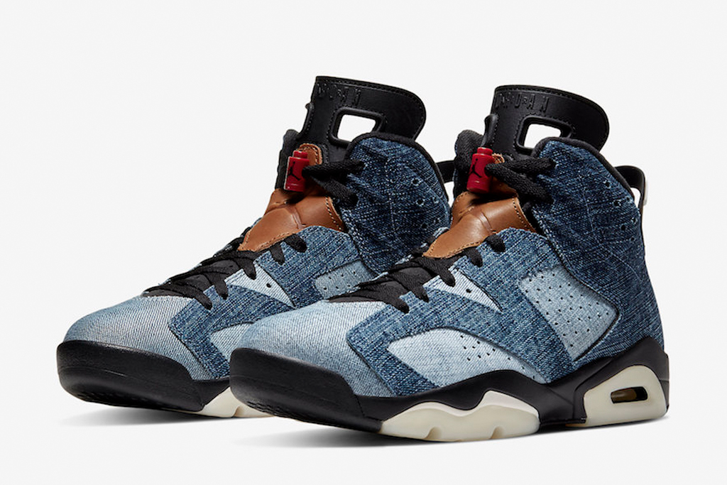 nike air jordan, air jordan 6, washed denim, denim