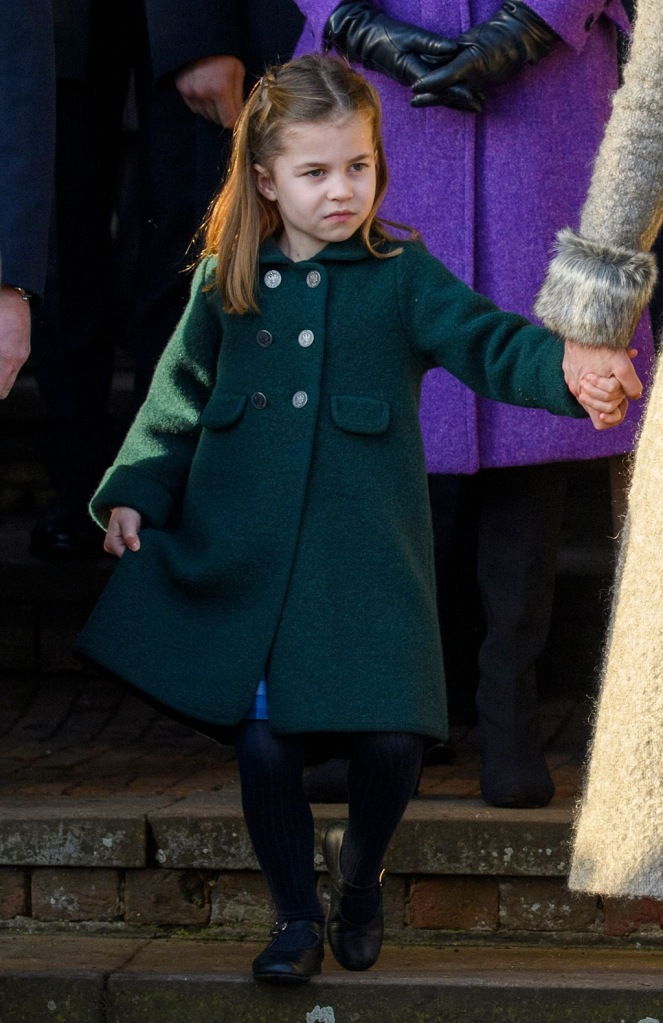 Princess Charlotte, green coat, black tights, black mary janes, Christmas Day church service, Sandringham, Norfolk, UK - 25 Dec 2019