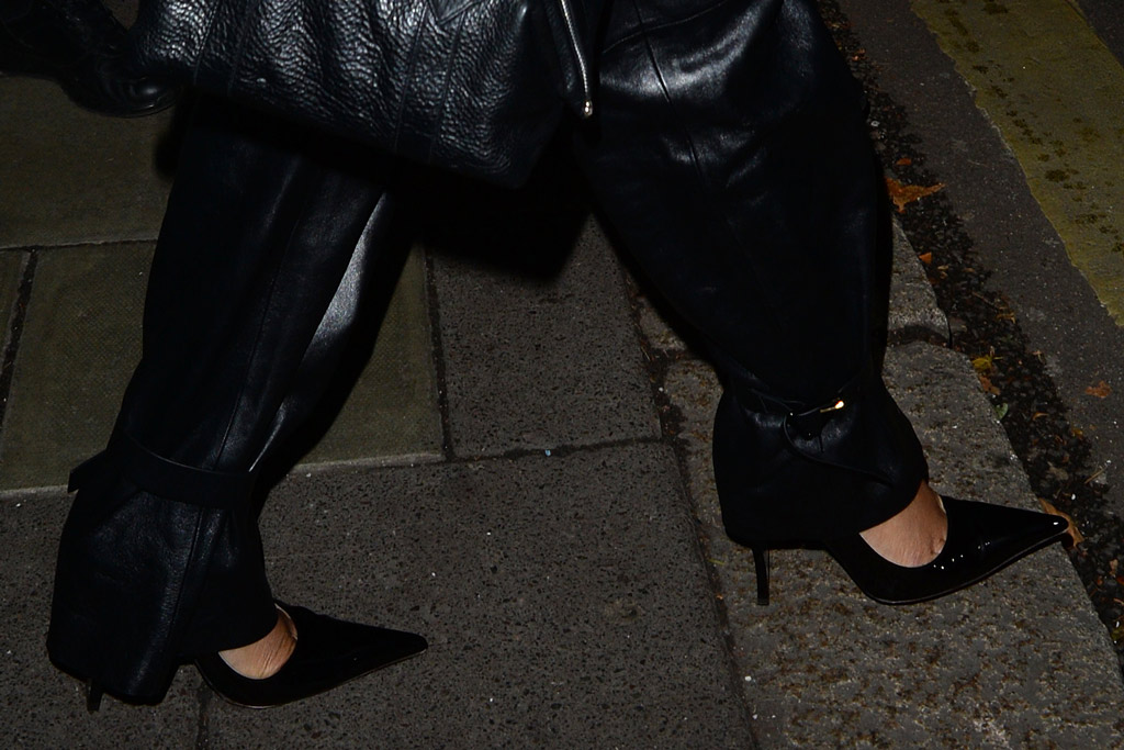 Rihanna, fenty shoes, power pumps, feet, celebrity style, bottega veneta pants, leather pants, london, annabels members club, uk