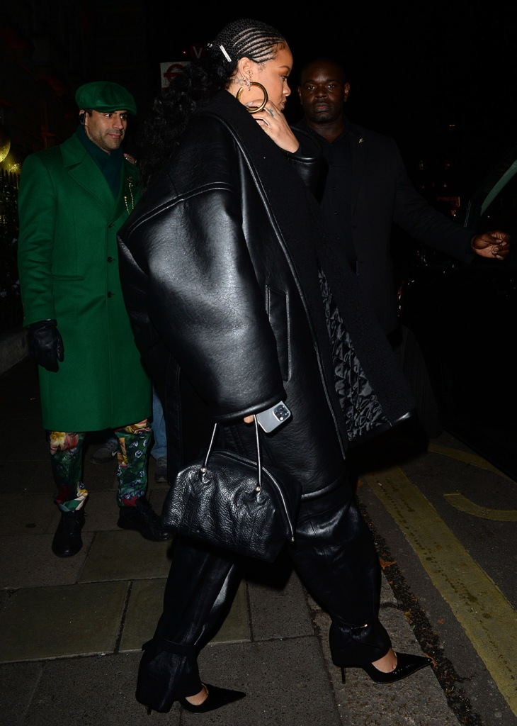 rihanna, hoop earrings, bottega veneta pants, leather pants, balenciaga jacket, faux leather coat, fenty pumps, power pumps, celebrity style, Superstar Singer and Barbadian Beauty Rihanna Seen Arriving at Annabels Private members club in MayfairPictured: RihannaRef: SPL5134670 101219 NON-EXCLUSIVEPicture by: SplashNews.comSplash News and PicturesLos Angeles: 310-821-2666New York: 212-619-2666London: +44 (0)20 7644 7656Berlin: +49 175 3764 166photodesk@splashnews.comWorld Rights