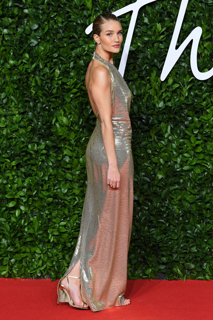 Rosie Huntington-WhiteleyThe Fashion Awards, Arrivals, Royal Albert Hall, London, UK - 02 Dec 2019, rosie h-w, sparkly gold dress, gown, strappy sandals, red carpet, celebrity style, fashion