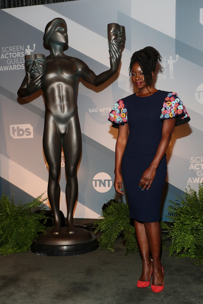 Danai Gurira, floral dress, red pumps, sag nominees, 26th Annual Screen Actors Guild Awards Nomination Announcement, Pacific Design Center, Los Angeles, USA - 11 Dec 2019
