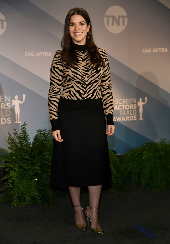 America Ferrera, zebra shirt, midi skirt, gold pumps, celebrity style, poses after announcing the nominations for the 26th annual Screen Actors Guild Awards at the Pacific Design Center, in West Hollywood, Calif. The show will be held on Sunday, Jan. 19, 2020, in Los Angeles26th Annual SAG Awards - Nominations, West Hollywood, USA - 11 Dec 2019