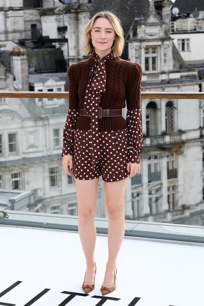 Saoirse Ronan, michael kors spring 2020, romper, sweater, belt, pumps, 'Little Women' film photocall, Corinthia Hotel, London, UK - 16 Dec 2019Wearing Michael Kors Same Outfit as catwalk model *10407024ay