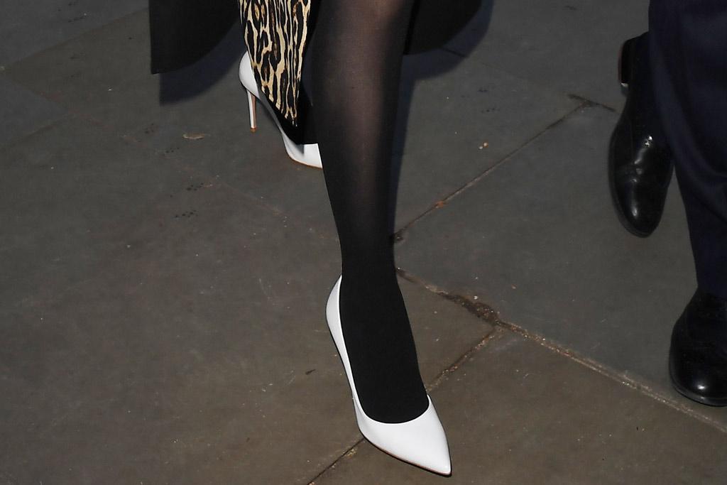 Selena Gomez, london, uk, celebrity style, white pumps, stilettos, stockings, shoe detail,