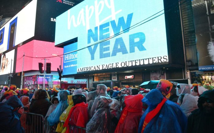 People wait in Times Square to celebrate the ringing in of the New Year.New Year's celebrations, New York, USA - 31 Dec 2018