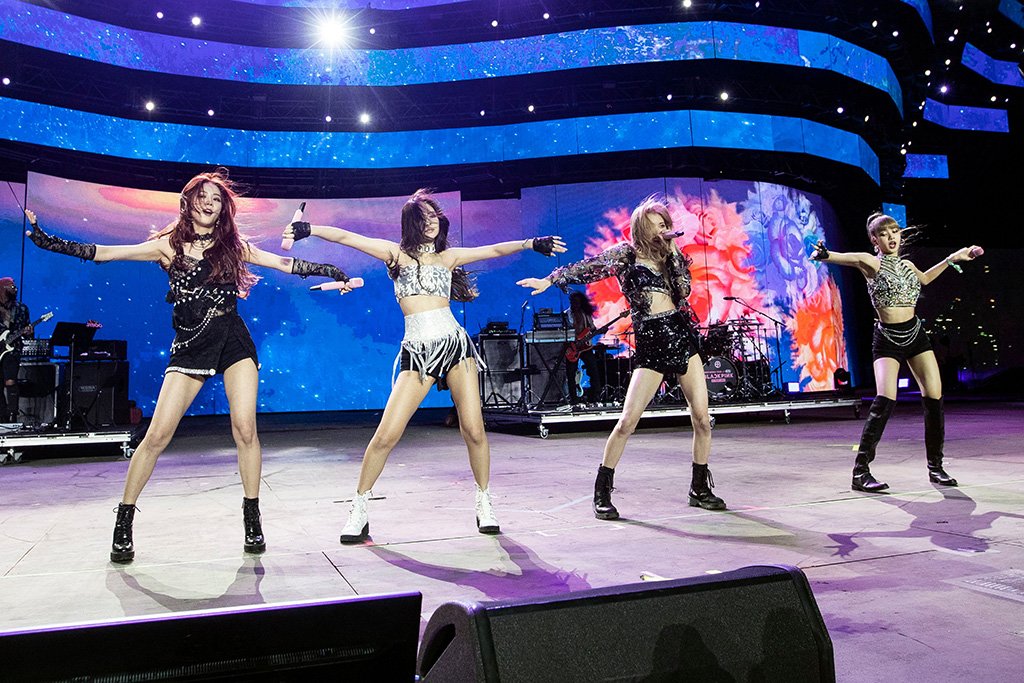 South Korean K-Pop group Blackpink performs on stage during the Coachella Valley Music and Arts Festival in Indio near Palm Springs, California, USA, 19 April 2019 (issued 20 April 2019). The festival runs from 12 to 21 April 2019.Coachella Valley Music and Arts Festival 2019 in Indio, USA - 19 Apr 2019