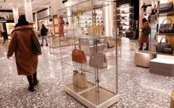Saks Fifth Avenue shoppers pass through