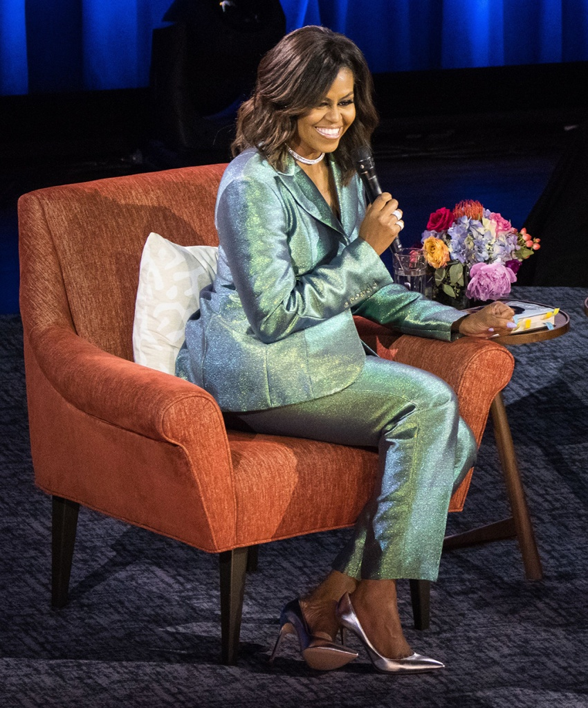 Michelle Obama,, christopher john rogers pantsuit, gianvito rossi pumps, silver heels, 'Becoming' book tour, Nashville, Tennessee, USA - 12 May 2019