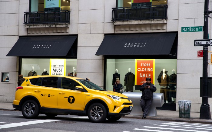 Barneys closing down saleBarneys closing down sale, New York, USA - 22 Nov 2019Days after Barneys New York was sold for pieces, the store-closing sales have started, with windows bearing signs that proclaim 'Everything must be sold!' and in a smaller font: 'Goodbuys, then goodbye!'