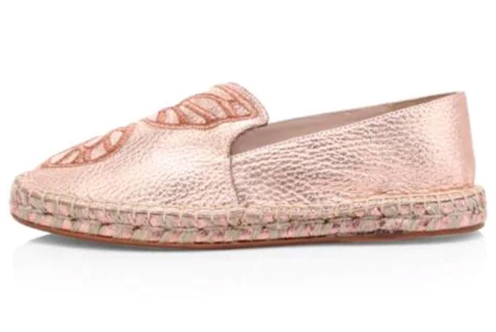 Sophia Webster, metallic shoes, espadrilles, rose gold