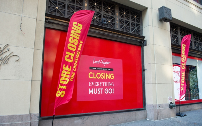 Lord & Taylor's NYC flagship with store closing signs