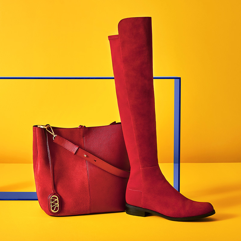 Stuart Weitzman, 5050.20, over the knee boots, red boots, 505 boots, bucket bag, campaign, holiday 2019