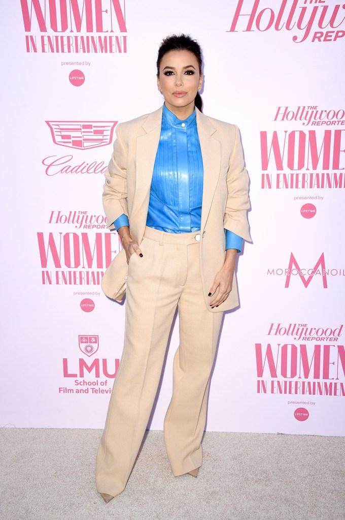 Eva Longoria, victoria beckham, nude pantsuit, blue shirt, nude pumps, celebrity style, The Hollywood Reporter's 'Women in Entertainment' Gala, Arrivals, Milk Studios, Los Angeles, USA - 11 Dec 2019