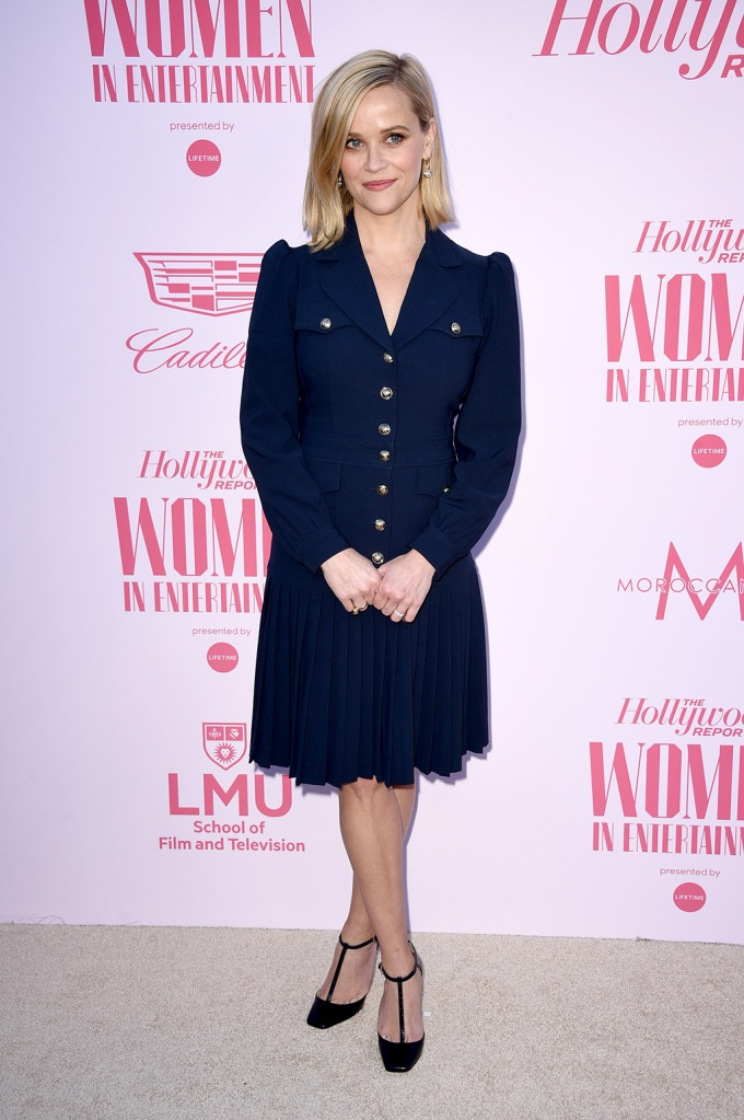 Reese Witherspoon, michael kors dress, navy dress, legs, celebrity style, jimmy choo shoes, The Hollywood Reporter's 'Women in Entertainment' Gala, Arrivals, Milk Studios, Los Angeles, USA - 11 Dec 2019