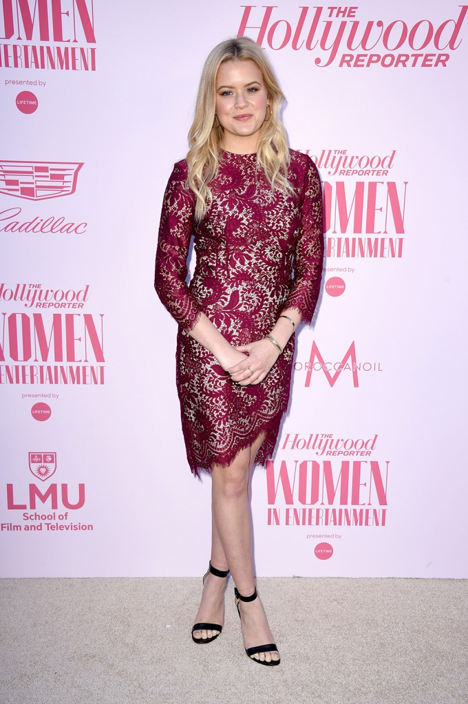 Ava Phillippe, red dress, lace dress, celebrity style, red carpet, gianvito rossi shoes, The Hollywood Reporter's 'Women in Entertainment' Gala, Arrivals, Milk Studios, Los Angeles, USA - 11 Dec 2019