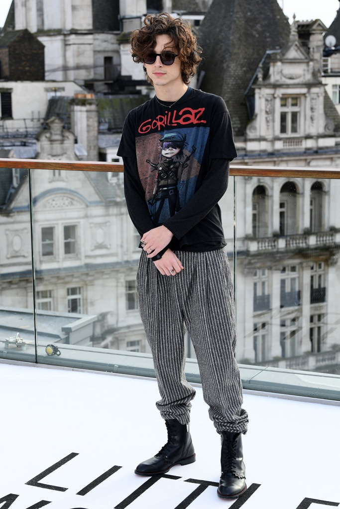 Timothee Chalamet, gorillaz t shirt, baggy pants, combat boots, celebrity style, e boy, 'Little Women' film photocall, Corinthia Hotel, London, UK - 16 Dec 2019