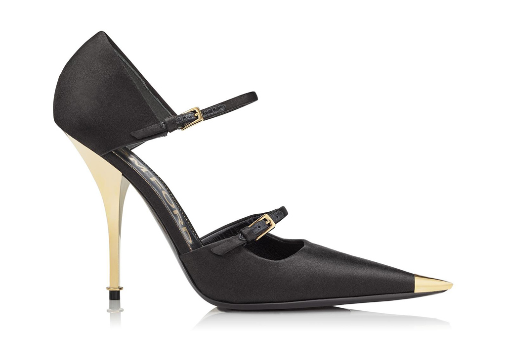 tom ford, satin, mary jane pumps, heels, black, gold