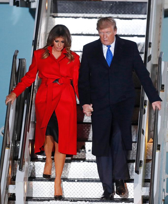 president donald trump, melania trump, london, uk, celebrity style, flight
