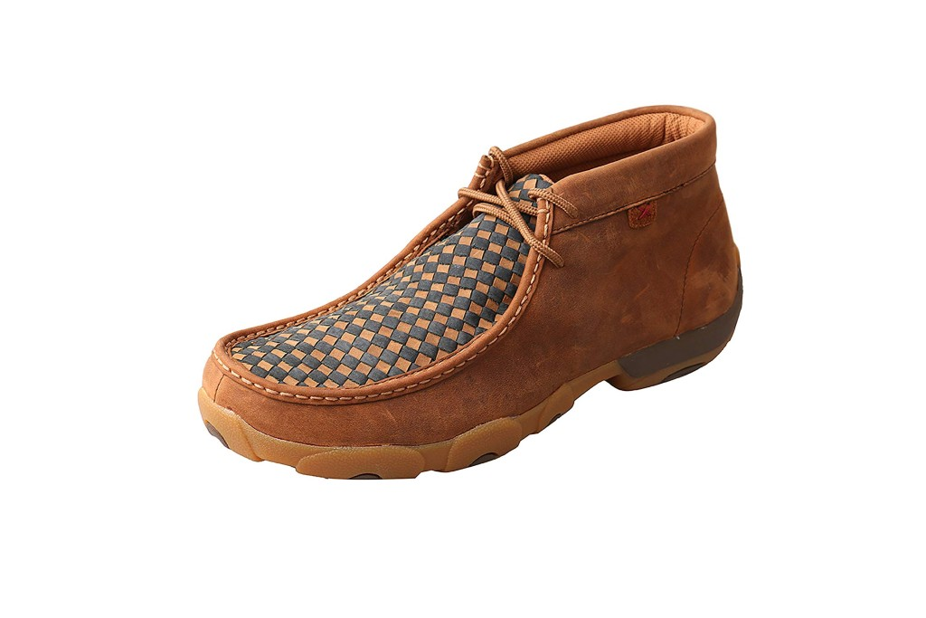 Twisted X Men's Leather Lace-Up Rubber Sole Moc Toe Driving Moccasins