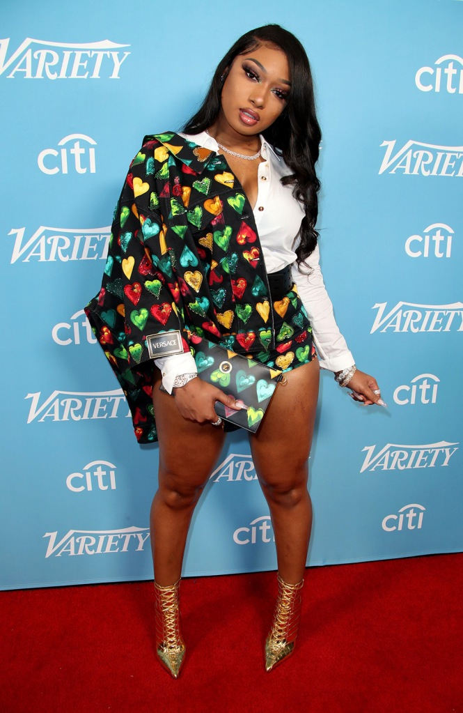 Megan Thee Stallion, versace, jacket, hot pants, legs, gold boots, clutch, Variety Hitmakers Brunch, Arrivals, Los Angeles, USA - 07 Dec 2019