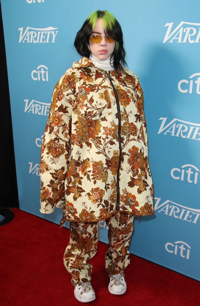 Billie Eilish, gucci flashtrek, white sneakers, floral set, jacket, pants, Variety Hitmakers Brunch, Arrivals, Los Angeles, USA - 07 Dec 2019