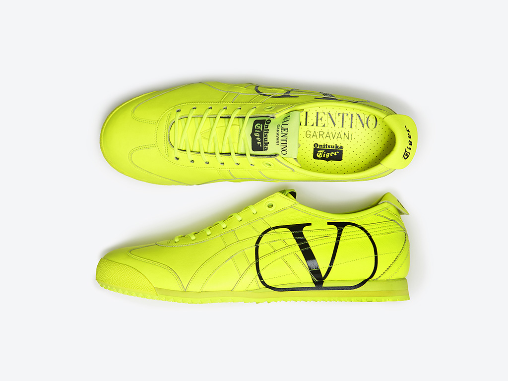 valentino, onisuka tiger, shoes, neon green