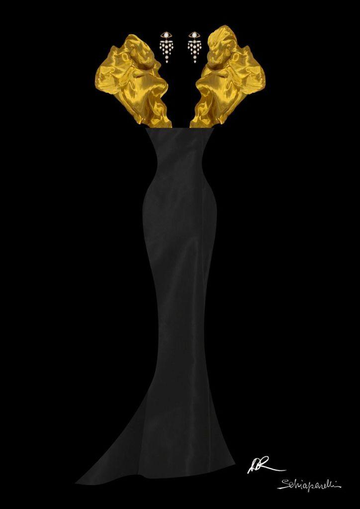 Beyoncé, golden globes, schiaparelli, gown, black and gold