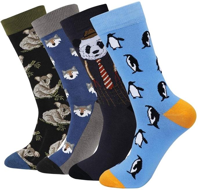 animal-themed dress socks for men, Cotton Idea Animal Crew Dress Scoks
