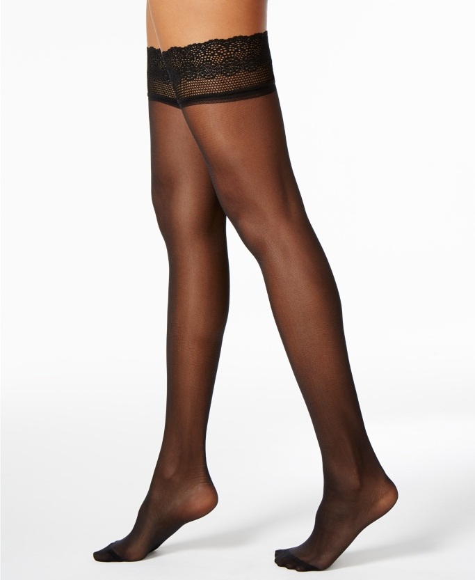 DKNY Women's Sheer Lace Thigh Highs, Sheer Thigh-High Stockings that stay up