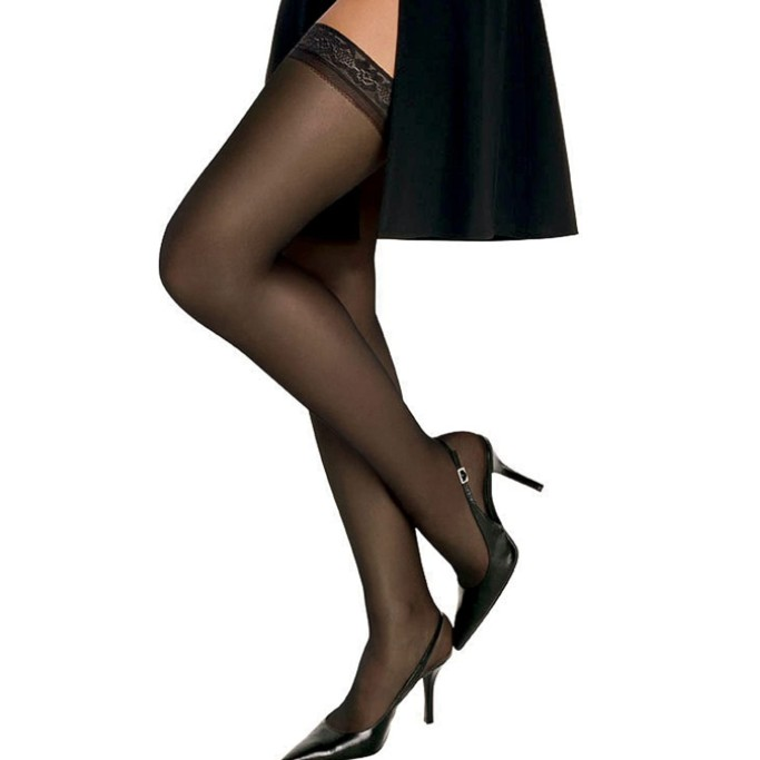 Hanes Silk Reflections Thigh Highs, sheer thigh-high stockings that stay up