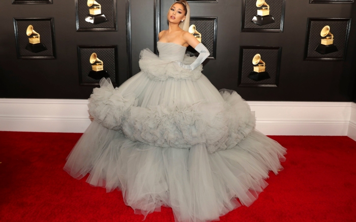 Ariana Grande, giambattista valli, gray ball gown, cinderella, globes, celebrity style, louboutin shoes, 62nd Annual Grammy Awards, Arrivals, Los Angeles, USA - 26 Jan 2020