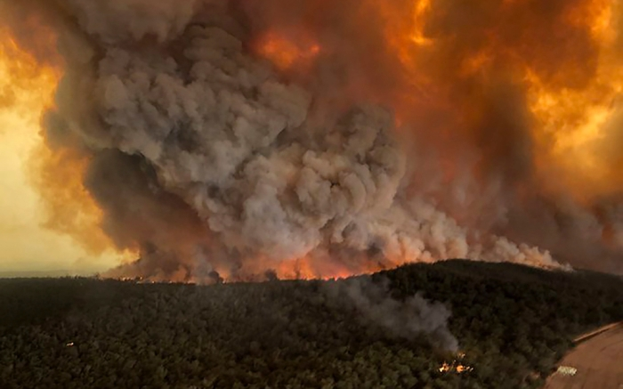 Australian bushfires aerial view