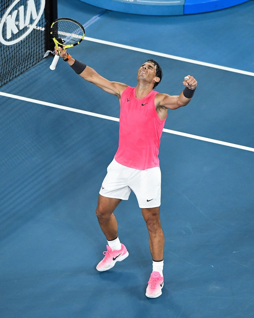 Editorial Use OnlyMandatory Credit: Photo by James Gourley/BPI/Shutterstock (10537811fa) Rafael Nadal celebrates victory after his Men's Singles Fourth Round match against Nick Kyrgios Australian Open Tennis, Day Eight, Melbourne Park, Australia - 27 Jan 2020