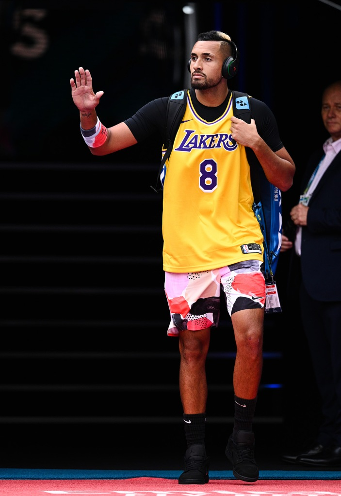 Editorial Use OnlyMandatory Credit: Photo by James Gourley/BPI/Shutterstock (10537811gb) Nick Kyrgios arrives on court wearing a Kobe Bryant jersey ahead of his Men's Singles Fourth Round match Australian Open Tennis, Day Eight, Melbourne Park, Australia - 27 Jan 2020