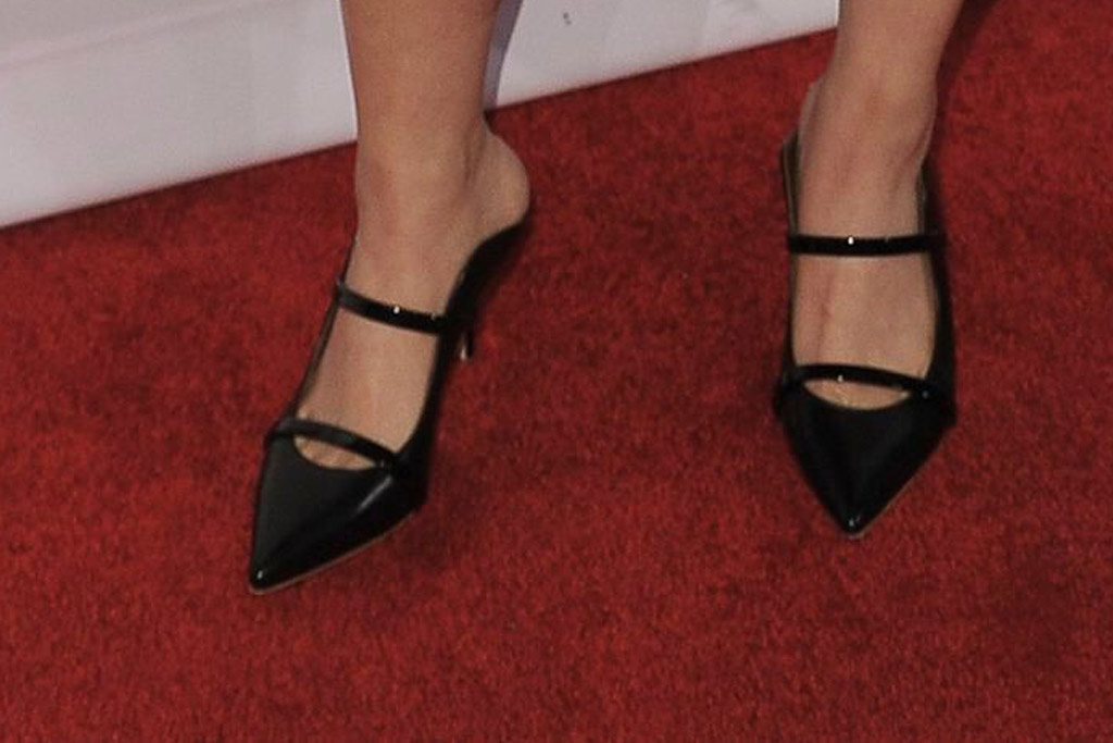 Awkwafina, bafta tea party, red carpet, malone souliers, pointy mules, celebrity style