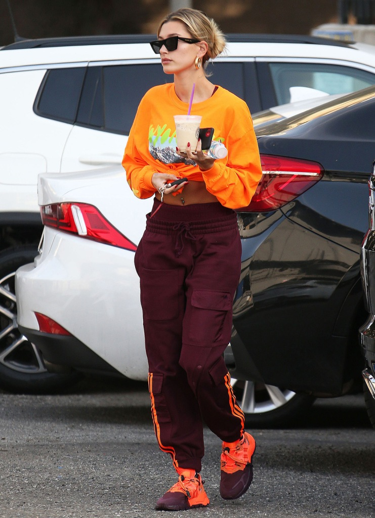 hailey baldwin, adidas x ivy park, beyonce, kanye west t shirt, nite jogger sneakers, track pants, crop top, belly button piercing, Hailey BieberHailey Bieber out and about, Los Angeles, USA - 15 Jan 2020