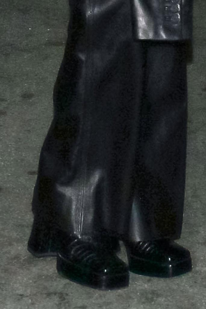 Bella Hadid, leather pants, platform shoes, square toe, shoe detail