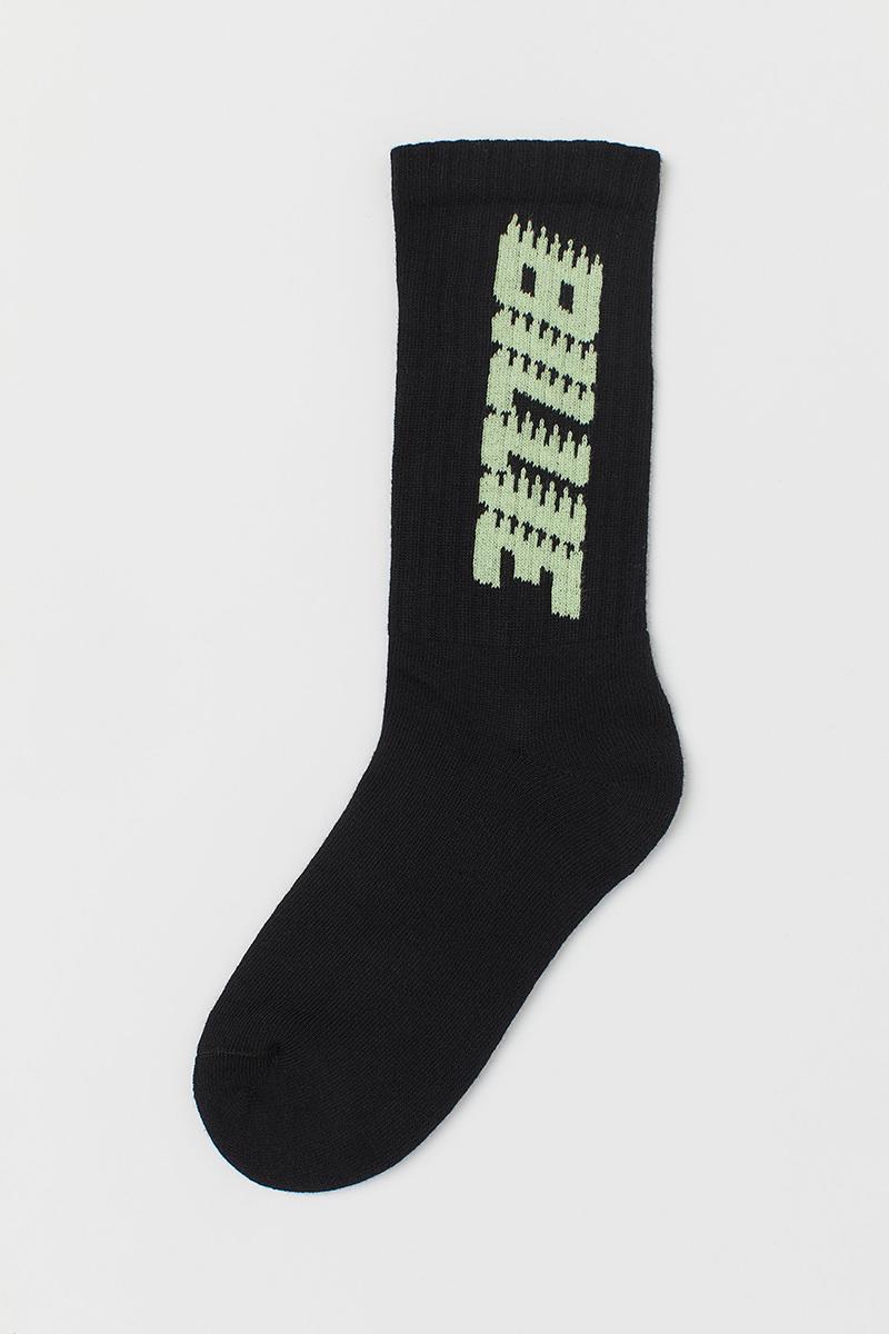 h&m, billie eilish, H&M x billie eilish, sustainable, socks, black, green