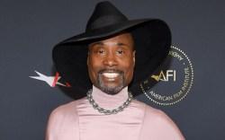 billy porter, pink dress, black hat,