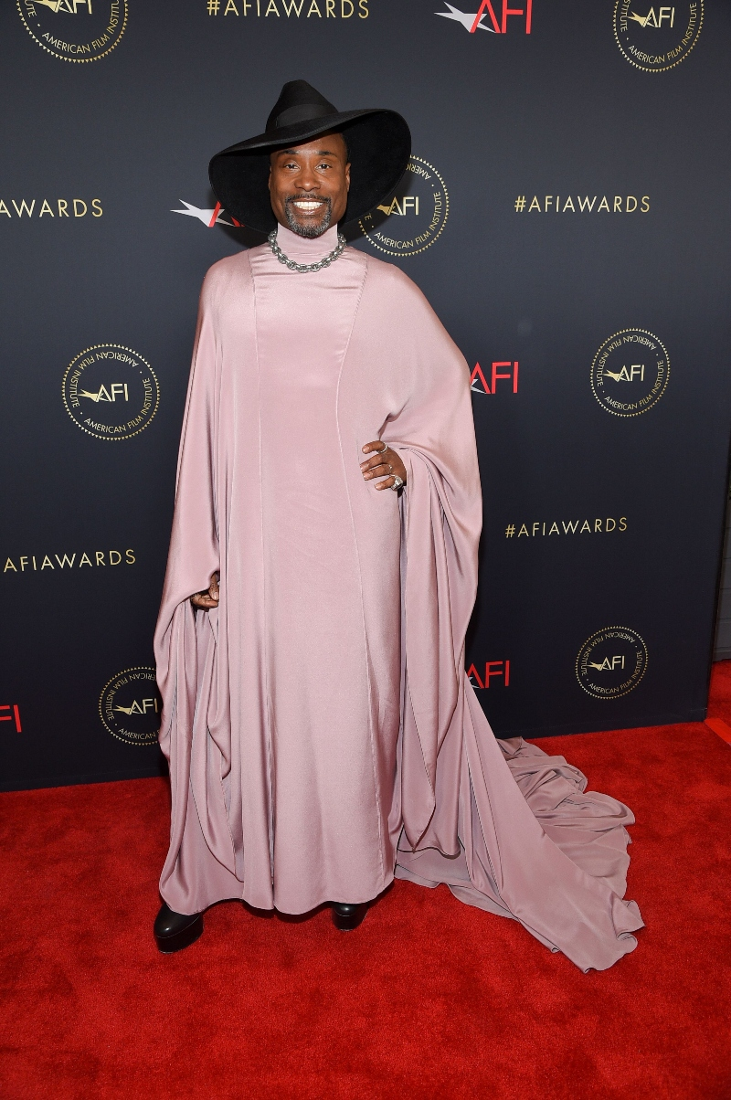 billy porter, pink dress, black hat, platform heels, boots,AFI Awards Luncheon, Los Angeles