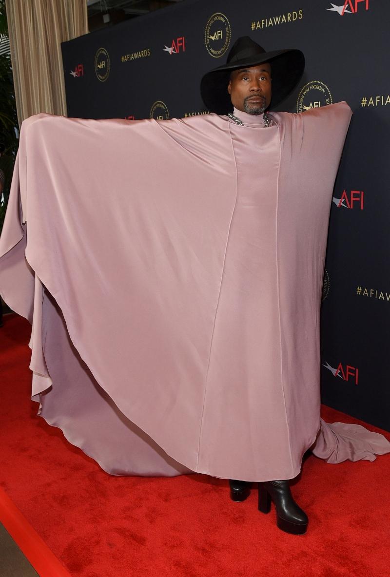 billy porter, pink dress, black hat, platform heels, boots,AFI Awards Luncheon, Los Angeles