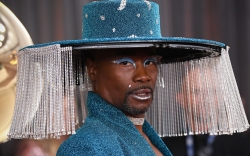 billy porter, blue, lamp, glitter, fringe,