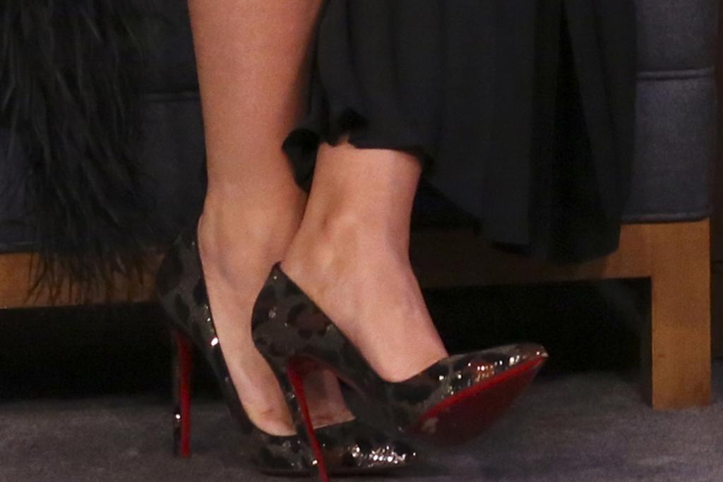 Blake Lively, christian louboutin shoes, stilettos, pumps, leopard print, sequins, celebrity style, jimmy fallon