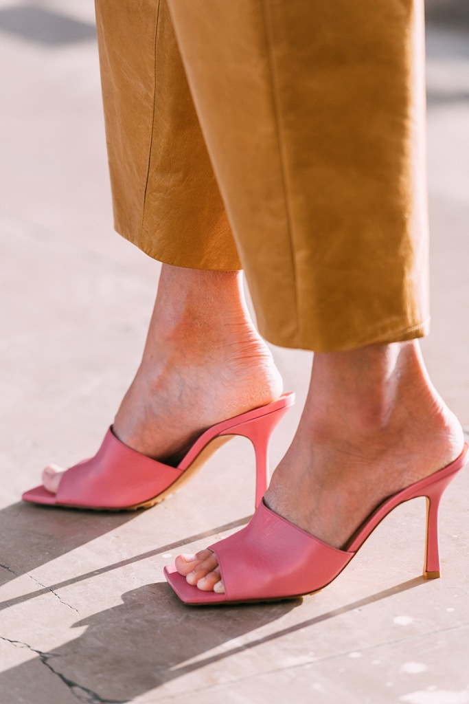 Bottega Veneta , square toe sandals, pink shoes, street style, paris , haute couture week