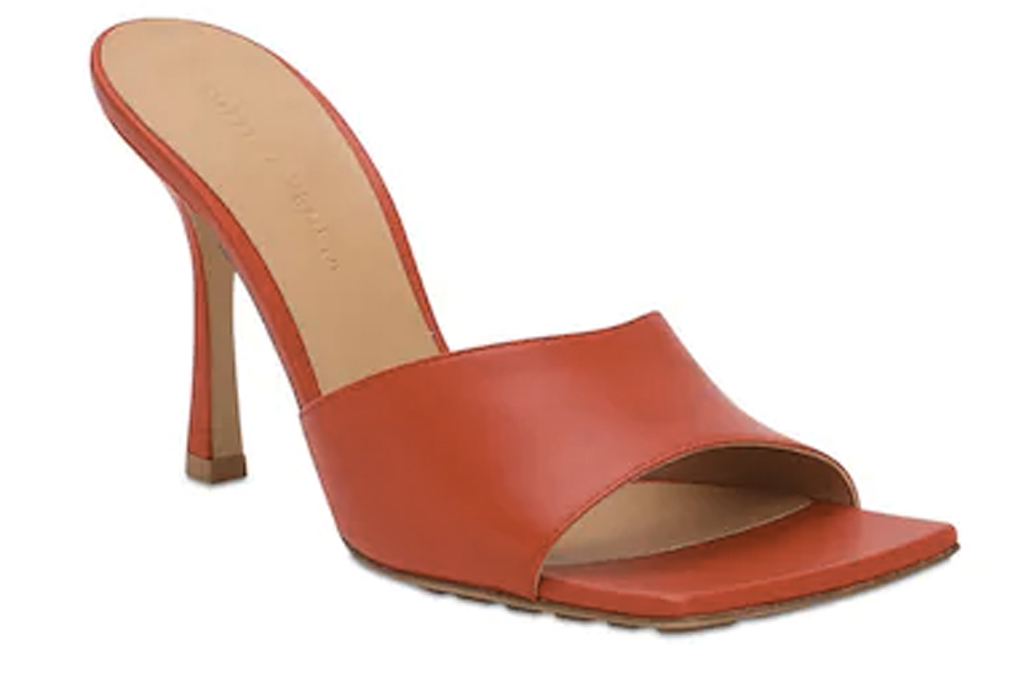 Bottega Veneta, red sandals, square toe